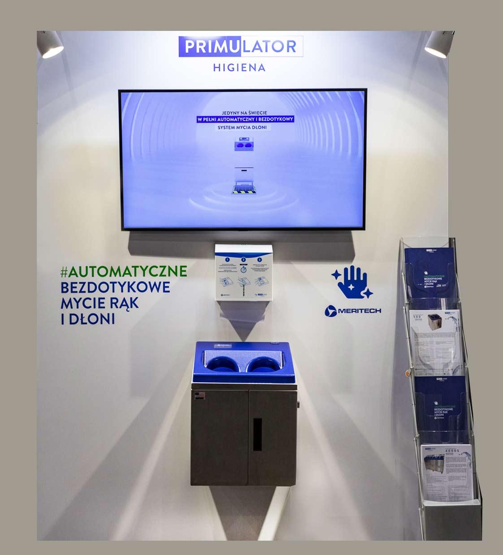 Targi Polagra 2020 - stacja do automatycznego mycia rąk Meritech
