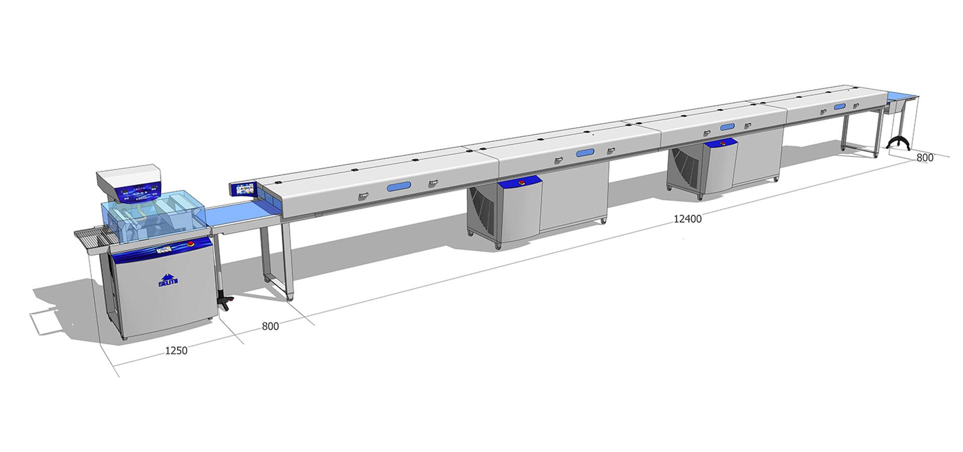 Tunel chłodniczy 600 mm / 12 m z temperówką do czekolady Cento