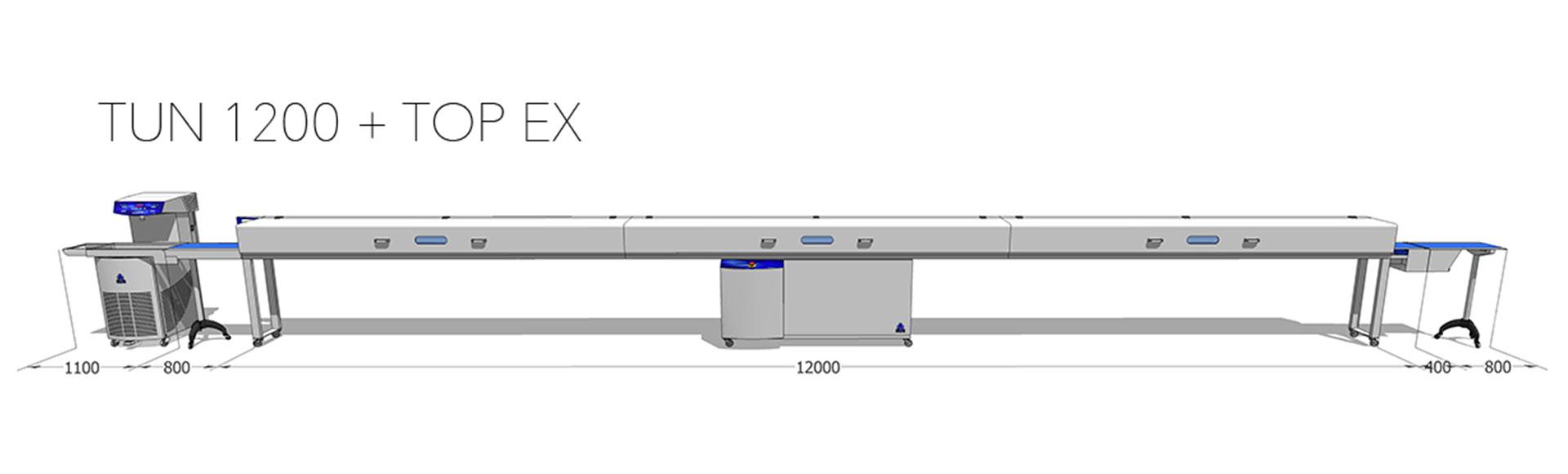 Tunel chłodniczy 400 mm / 12 m z temperówką do czekolady Top EX