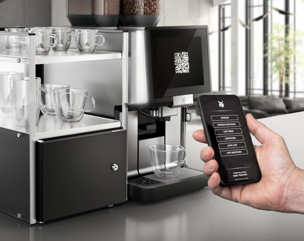 Bezdotykowe samoobsługowe zamawianie napojów w automatycznym ekspresie do kawy WMF